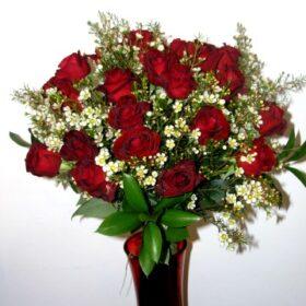 24 LONG STEAM RED ROSES